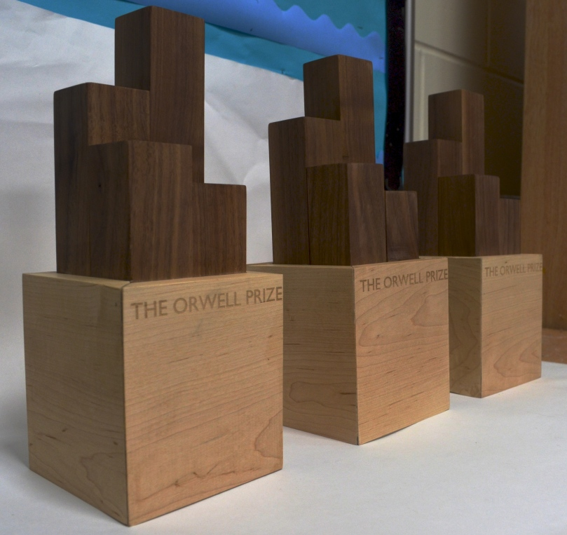 2015 Orwell Prize trophies, designed by Goldsmiths Design student Keir Middleton
