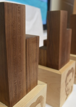 2015 Orwell Prize trophies, designed by BA DCL student Keir Middleton