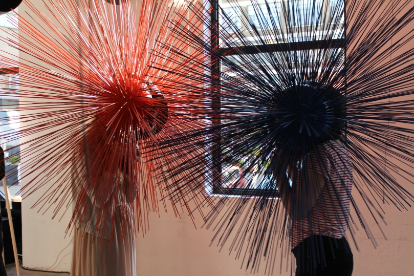 The helmets from Will Gubbins' display 'Touch at a Distance' got a lot of attention