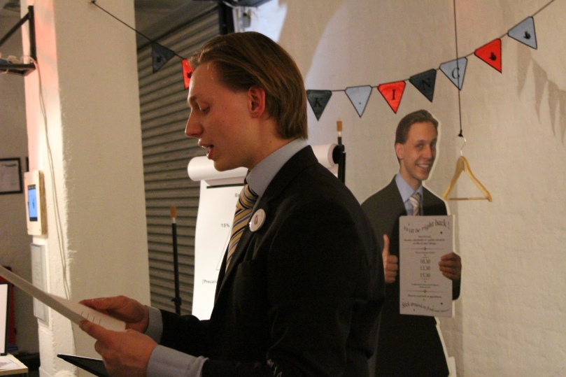 As part of his 'Luck Inc' project, Lukas Valiauga gave visitors a sales pitch regarding his future prospects
