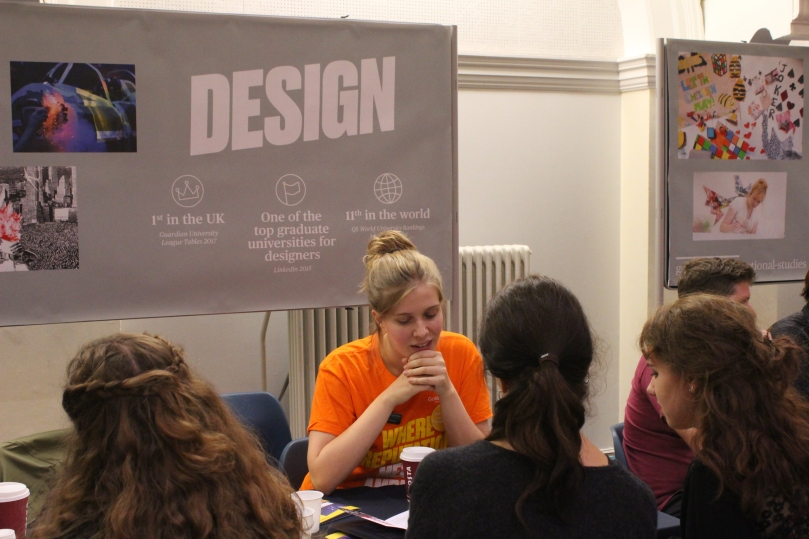 Annie Kruntcheva talks to prospective students about Design at Goldsmiths